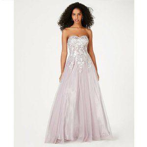 Blondie Nites 0 Silver Purple Floral Gown CA41